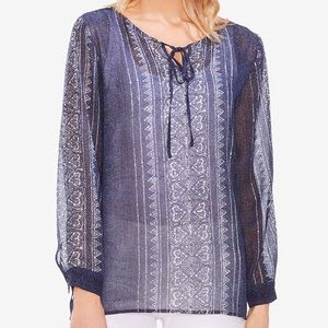 Vince Camuto Peasant Blouse Blue Top Sheer Small